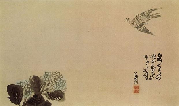 Hototogisu over the hydrangea (haiga) by Yosa Buson